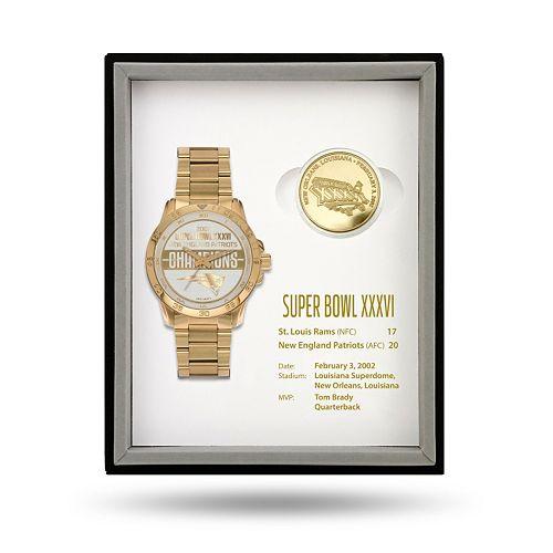 New EnglandPatriots Super Bowl XXXVI Watch & Coin Commemorative Set