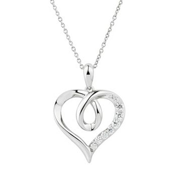 DiamonLuxe Sterling Silver 1/3 Carat T.W. Simulated Diamond Heart Pendant