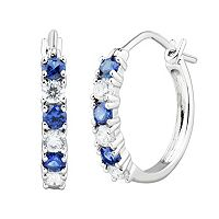 DiamonLuxe Sterling Silver 1/2 Carat T.W. Simulated Diamond & Lab-Created Sapphire Hoop Earrings