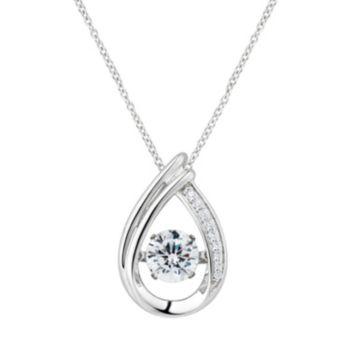 Floating DiamonLuxe 1 5/8 Carat T.W. Simulated Diamond Teardrop Pendant