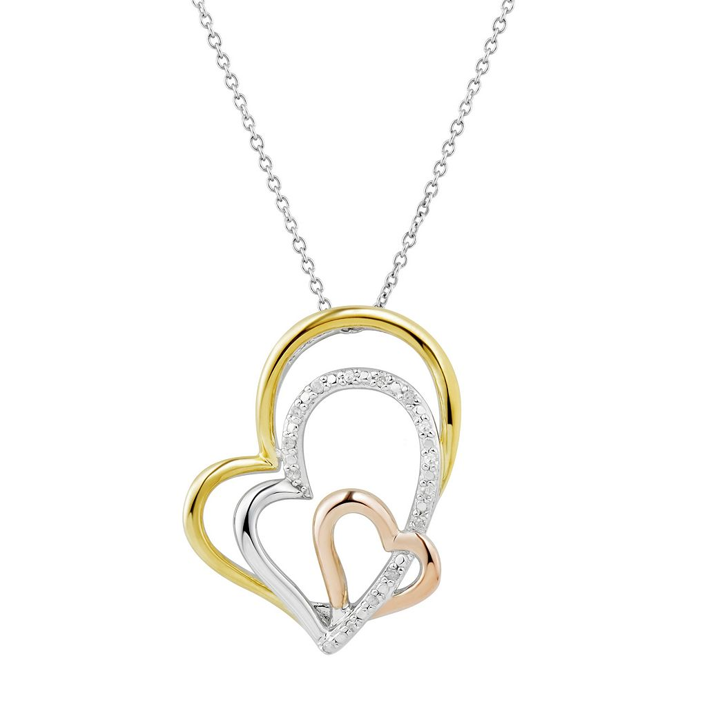 Two Hearts Forever OneTri-Tone Sterling Silver Diamond Accent Heart Pendant