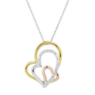 Two Hearts Forever One Tri-Tone Sterling Silver Diamond Accent Heart Pendant
