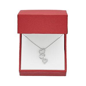 Sterling Silver 1/10 Carat T.W. Diamond Triple Heart Pendant