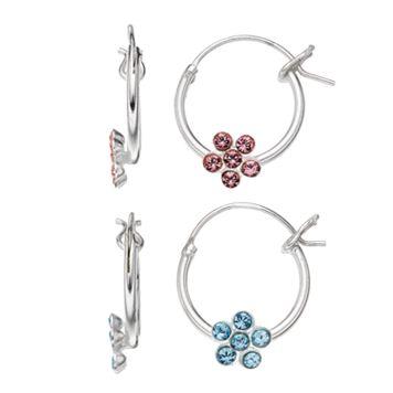 Charming Girl Kids' Sterling Silver Crystal Flower Hoop Earring Set