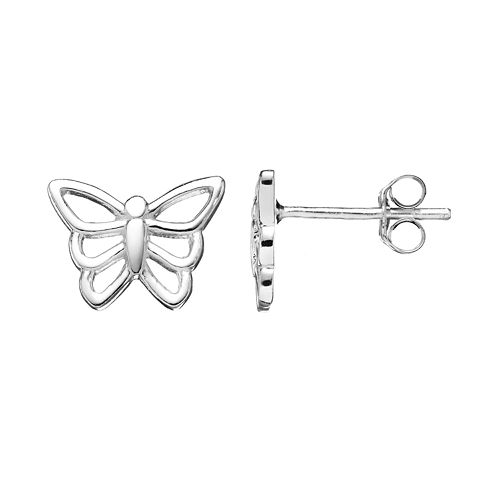 251cadab7 Charming Girl Kids' Sterling Silver Butterfly Stud Earrings