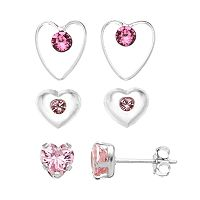 Charming Girl Kids' Sterling Silver Crystal & Cubic Zirconia Heart Stud Earring Set