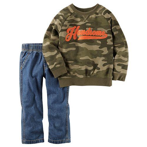 "Baby Boy Carter's ""Handsome"" Camouflage Sweatshirt & Jeans Set"