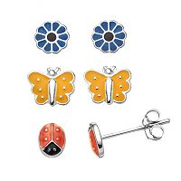 Charming Girl Kids' Sterling Silver Ladybug, Butterfly & Flower Stud Earring Set