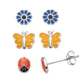 Charming Girl Kids' Sterling Silver Ladybug, Butterfly & Flower Stud Earring Set