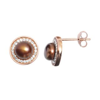 Pearl 'N' Ice 14k Rose Gold Over Silver Dyed Freshwater Cultured Pearl Halo Stud Earrings