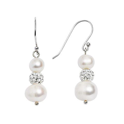 Pearl 'N' Ice Sterling Silver Freshwater Cultured Pearl & Crystal Drop Earrings