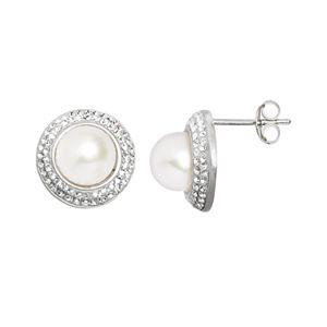Pearl 'N' Ice Sterling Silver Freshwater Cultured Pearl Halo Stud Earrings