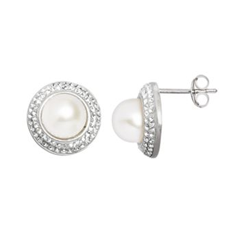 Pearl 'N' Ice Sterling Silver Freshwater Cultured Pearl Halo Stud Earrings