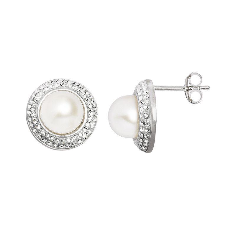 Pearl 'N' Ice Sterling Silver Freshwater Cultured Pearl Halo Stud Earrings, Women's, White