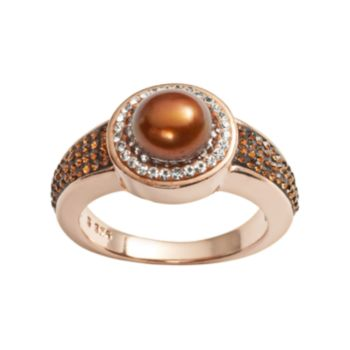 Pearl 'N' Ice 14k Rose Gold Over Silver Dyed Freshwater Cultured Pearl & Crystal Halo Ring