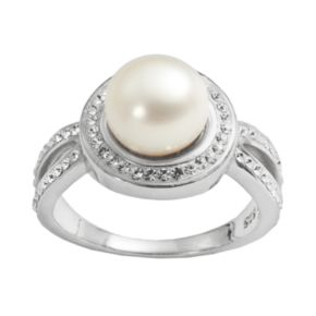 Pearl 'N' Ice Sterling Silver Freshwater Cultured Pearl & Crystal Halo Ring