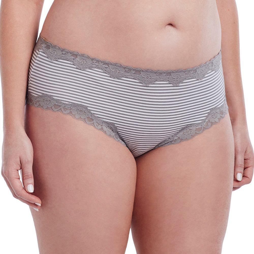 Juniors' Plus Size Saint Eve® Striped Lace Trim Hipster 516401X