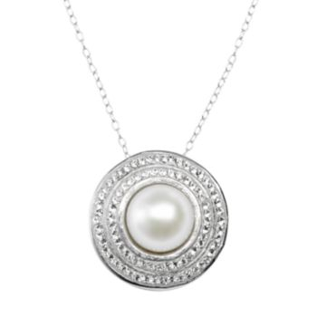 Pearl 'N' Ice Sterling Silver Freshwater Cultured Pearl Halo Pendant