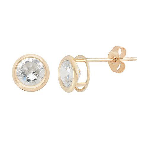 10k Gold Cubic Zirconia Openwork Stud Earrings