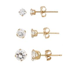 10k Gold Cubic Zirconia Stud Earring Set