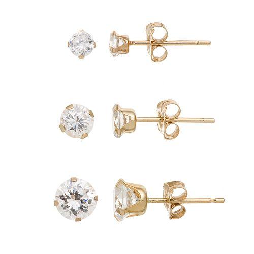 10k Gold Cubic Zirconia Stud Earring Set