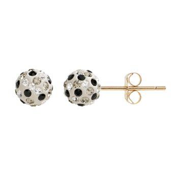 10k Gold Crystal Ball Stud Earrings