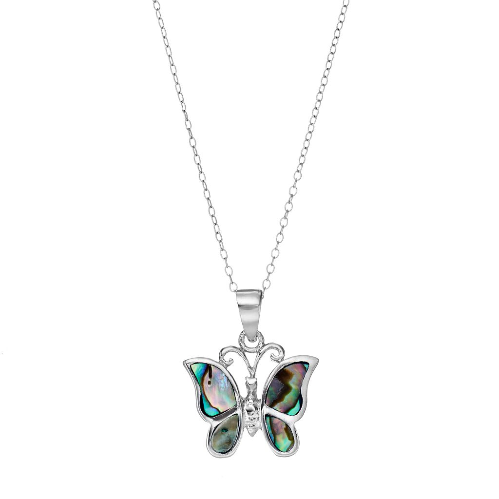 Sterling Silver Abalone Butterfly Pendant Necklace