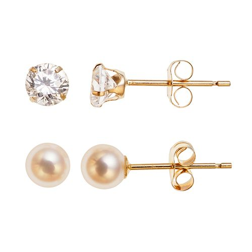 10k Gold Freshwater Cultured Pearl & Cubic Zirconia Stud Earring Set