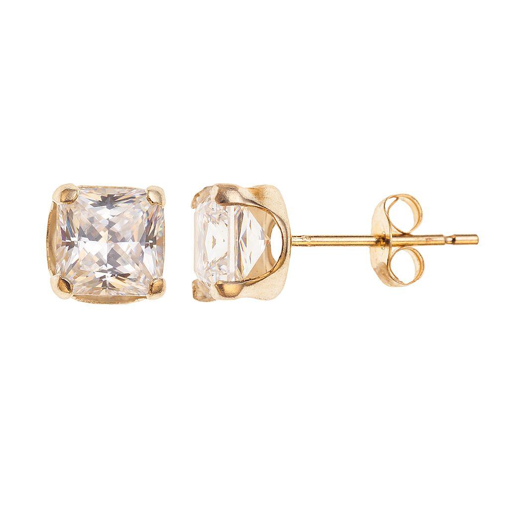 10k Gold Cubic Zirconia Square Stud Earrings