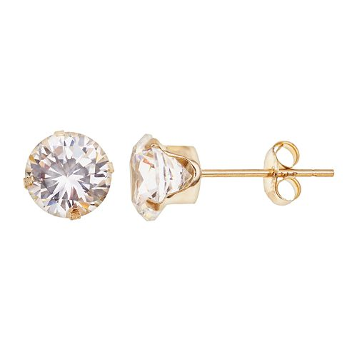 10k Gold Cubic Zirconia Stud Earrings