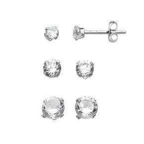 10k White Gold Cubic Zirconia Stud Earring Set