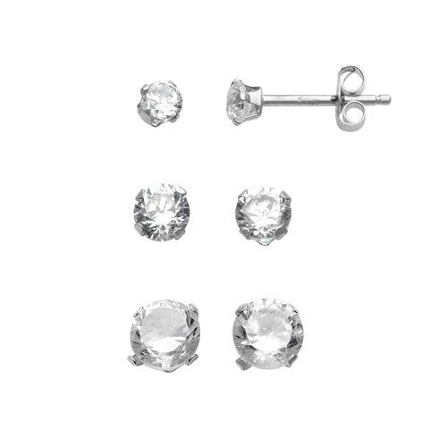 10k White Gold Cubic Zirconia Stud Earring Set