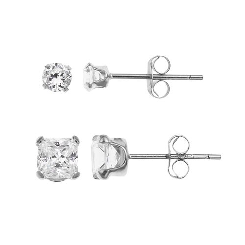 5a6483bf5 10k White Gold Cubic Zirconia Stud Earring Set