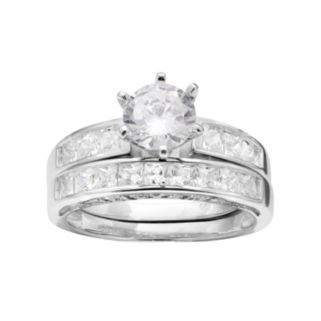 Pure 925 Sterling Silver Cubic Zirconia Engagement Ring Set