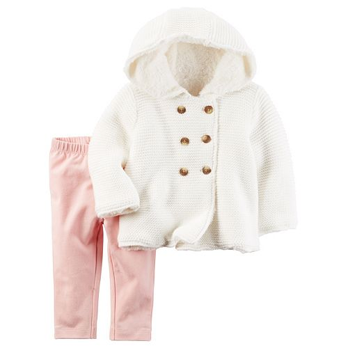 8d7fe4316440 Baby Girl Carter s Sherpa-Lined Sweater   Leggings Set