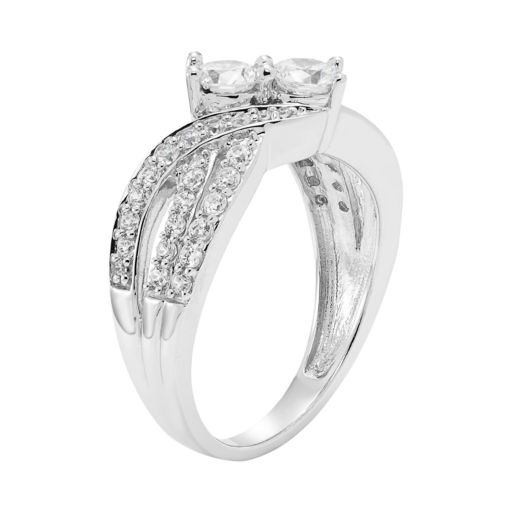 10k White Gold 1 Carat T.W. Diamond 2-Stone Ring