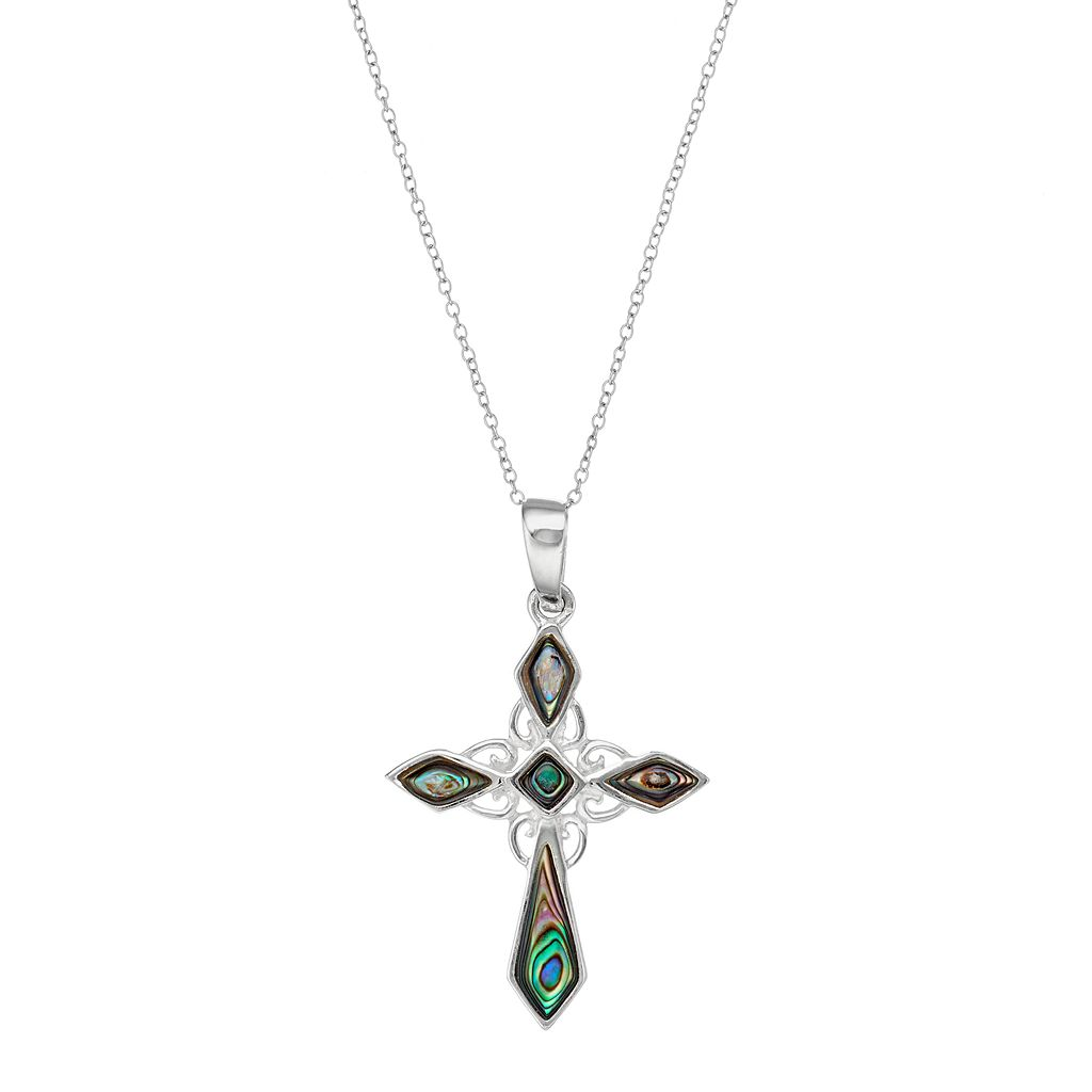 Sterling Silver Abalone Cross Pendant Necklace