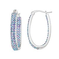 Crystal Radiance Inside-Out Oval Hoop Earrings