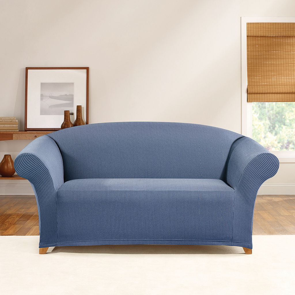 Sure Fit Stretch Ticking Stripe Loveseat Slipcover