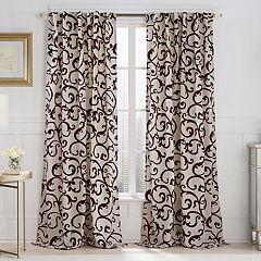 VCNY 1-Panel Brandy Flocked Scroll Window Curtain - 52'' x 84''