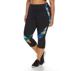 Plus Size FILA SPORT® Printed Laser Crop Capri Running Leggings