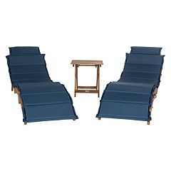 Safavieh Pacifica Patio Lounge Chair & End Table 3 pc Set