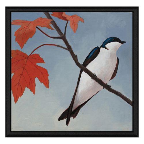 Bird on Branch Framed Canvas Wall Art