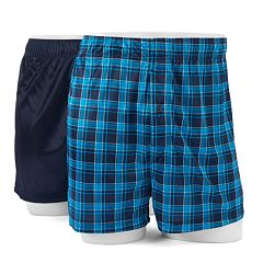 Big & Tall Croft & Barrow® 2-pack Solid & Patterned Microfiber Boxers