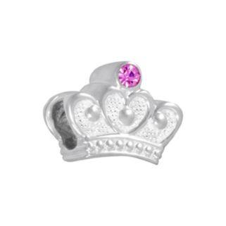 Disney Sterling Silver Crystal Crown Bead