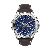 Seiko Men's Core Leather Solar Chronograph Watch - SSC455