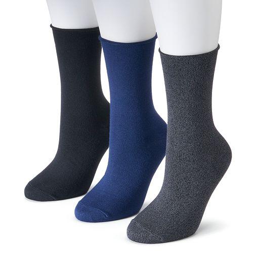 Women's SONOMA Goods for Life™ 3-pk. Soft & Comfortable Roll Top Crew Socks