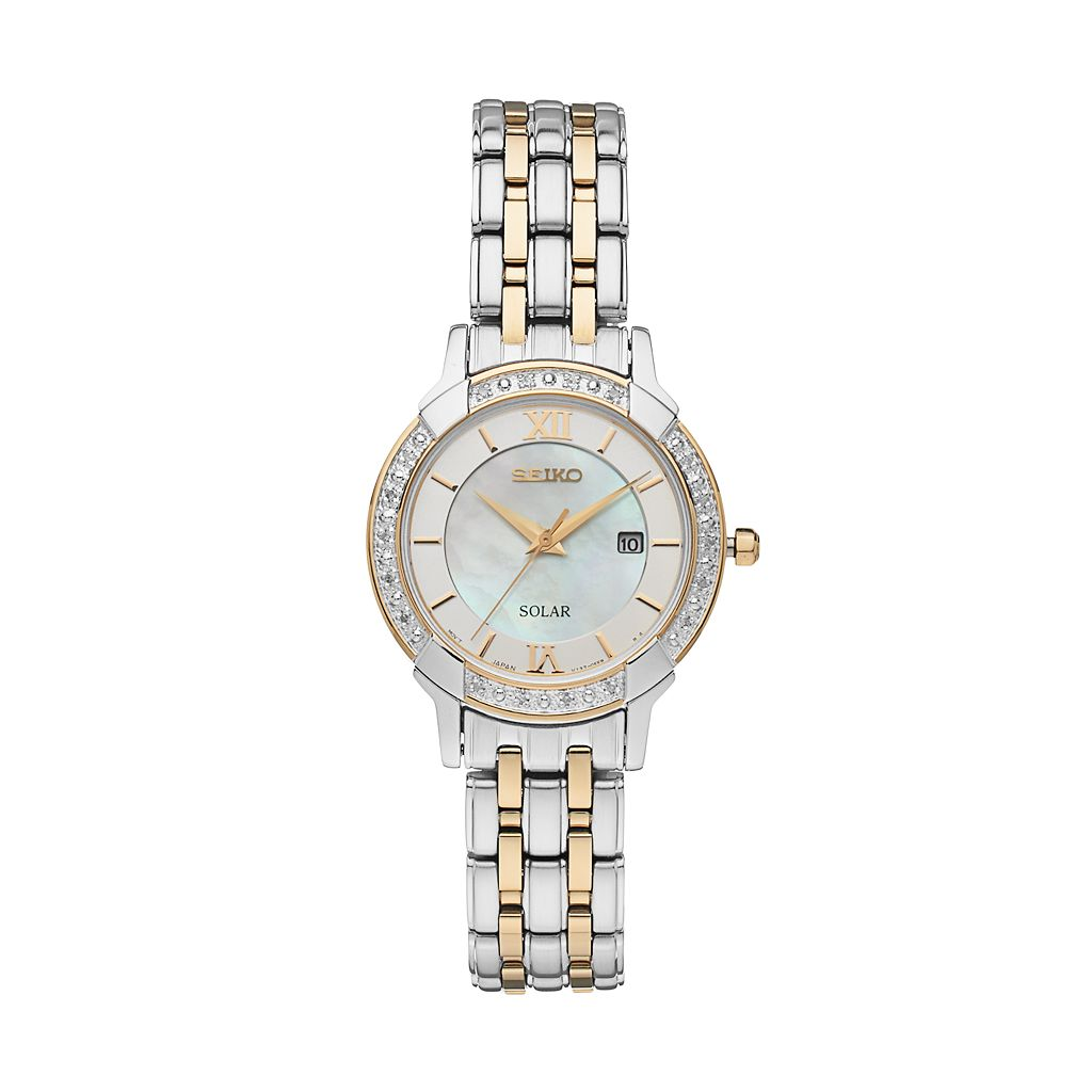 Seiko Women's Core Diamond Stainless Steel Solar Watch