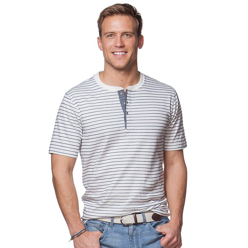 Big & Tall Chaps Jersey Striped Henley