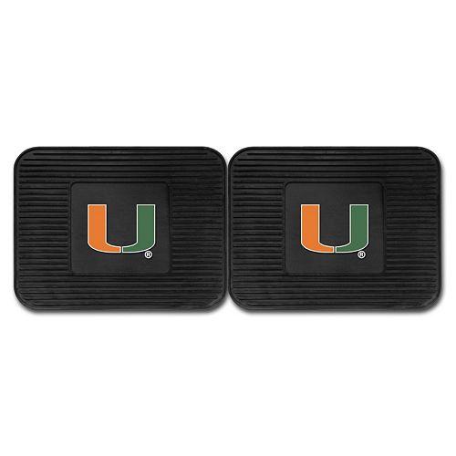 FANMATS Miami Hurricanes 2-Pack Utility Backseat Car Mats